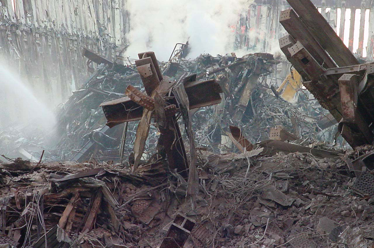 Steel Girder Cross Amid WTC Rubble