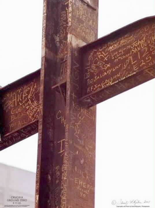 Close-up of WTC Steel Girder Cross - Epitaph